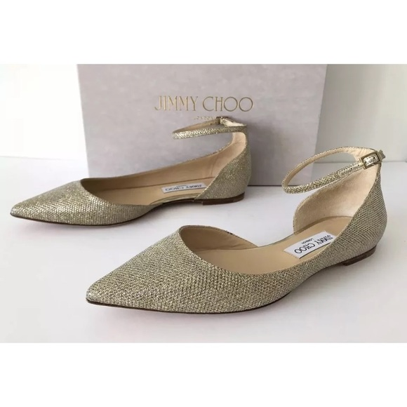 7040b1901497 JIMMY CHOO LUCY LAME GLITTER ANKLE STRAP FLATS 38